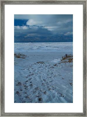 Path Toward The Winter Beach Framed Print by Dan Sproul