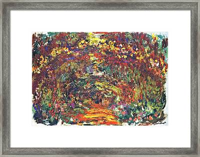 Path Under The Rose Trellises Giverny Framed Print by Claude Monet