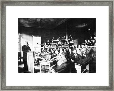 Pathology Lecture By Virchow Framed Print