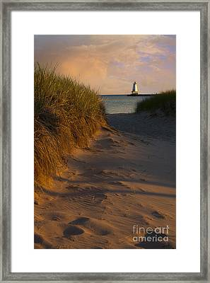 Pathway To Lighthouse Framed Print