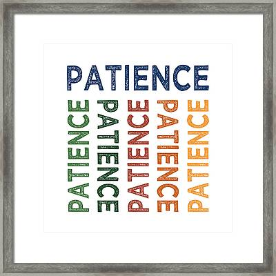 Patience Cute Colorful Framed Print by Flo Karp