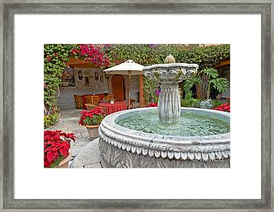 Patio And Fountain Framed Print