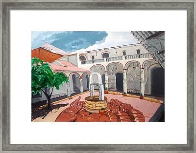 Patio Colonial Framed Print by Lazaro Hurtado