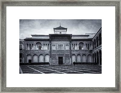Patio De La Montaria Bw Framed Print by Joan Carroll