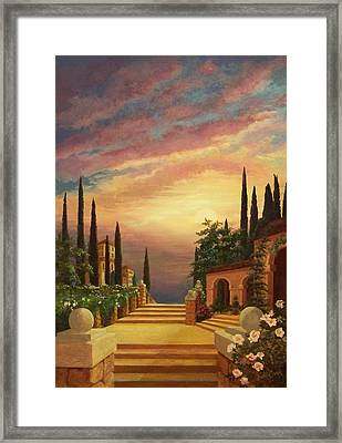 Patio Il Tramonto Or Patio At Sunset Framed Print by Evie Cook