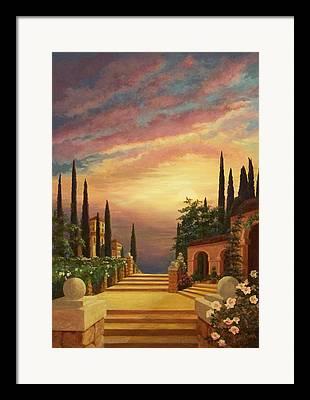 Tuscan Sunset Digital Art Framed Prints
