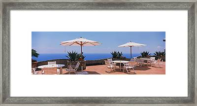 Patio Umbrellas In A Cafe, Positano Framed Print by Panoramic Images