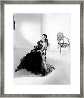Patricia Neal Wearing A Tulle Dress Framed Print