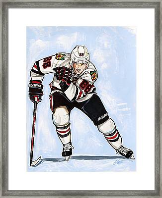 Patrick Kane Of The Chicago Blackhawks Framed Print by Dave Olsen
