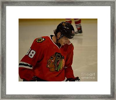 Patrick Kane Reflects Framed Print by Melissa Goodrich