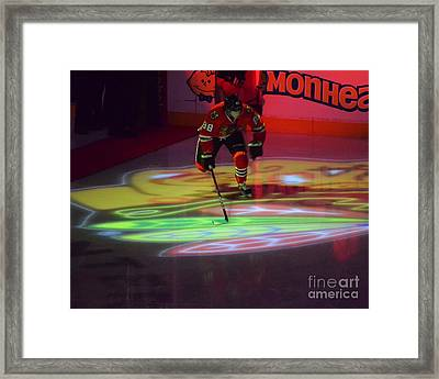 Patrick Kane Takes The Ice Framed Print by Melissa Goodrich