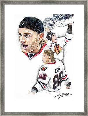 Patrick Kane - The Moment Framed Print by Jerry Tibstra