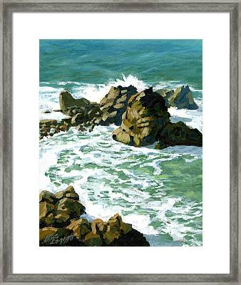 Patricks Point Rocks Framed Print by Alice Leggett