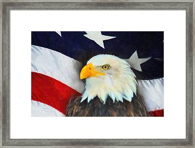 Patriotic American Flag And Eagle Framed Print by Kenny Francis