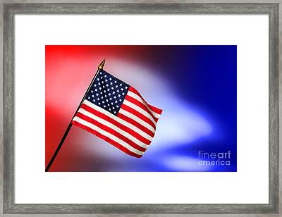 Patriotic American Flag Framed Print by Olivier Le Queinec