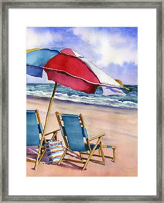 Patriotic Beach Umbrellas Framed Print by Beth Kantor