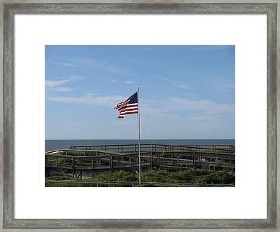 Patriotic Beach View Framed Print