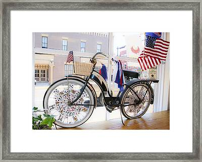 Patriotic Bicycle Framed Print by Cindy Archbell