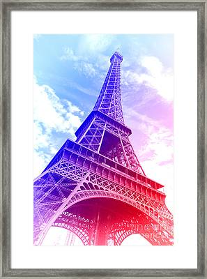 Patriotic Eiffel Tower Framed Print by Olivier Le Queinec