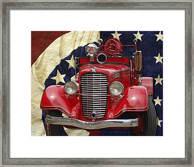 Patriotic Fire Truck Framed Print