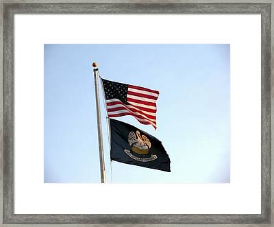 Framed Print featuring the photograph Patriotic Flags by Joseph Baril