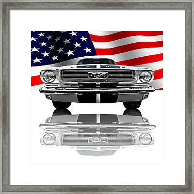 Patriotic Ford Mustang 1966 Framed Print by Gill Billington