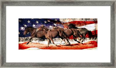 Patriotic Freedom Run Framed Print by Amy Spivey