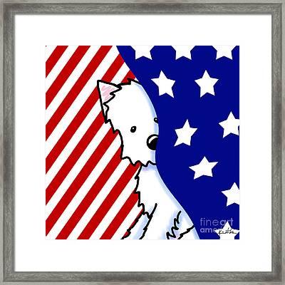 Patriotic Peekaboo Westie Framed Print by Kim Niles
