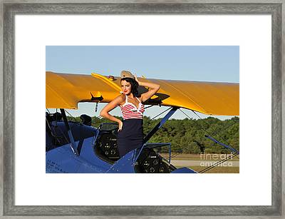 Patriotic Pin-up Girl Standing Framed Print by Christian Kieffer