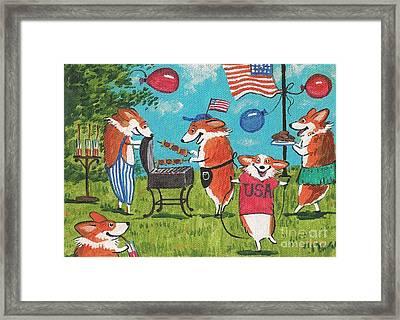 Patriotic Pups Framed Print by Margaryta Yermolayeva
