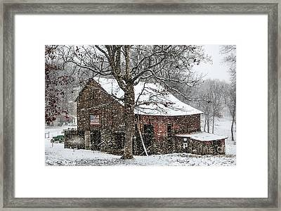 Patriotic Tobacco Barn Framed Print by Debbie Green