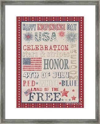 Patriotic Typography-b Framed Print by Jean Plout