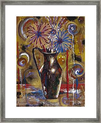 Framed Print featuring the painting Patriotism Blooms by Margaret Bobb