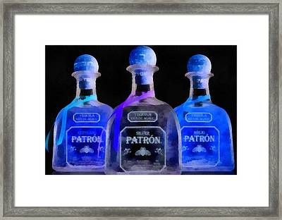 Patron Tequila Black Light Framed Print by Dan Sproul