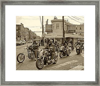Pat's With Cycles Framed Print by Jack Paolini