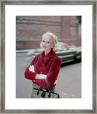 Patsy Bartlett Wearing A Red Jacket Framed Print