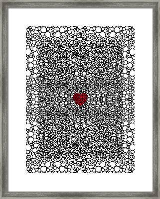 Pattern 19 - Heart Art - Black And White Exquisite Pattern By Sharon Cummings Framed Print