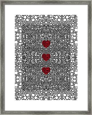 Pattern 34 - Heart Art - Black And White Exquisite Patterns By Sharon Cummings Framed Print by Sharon Cummings
