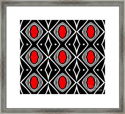 Pattern Geometric Black White Red Art No.391. Framed Print by Drinka Mercep