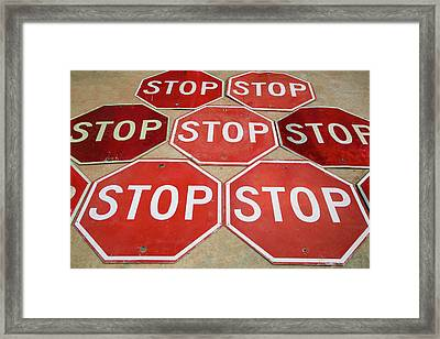 Pattern Of Stop Signs, Tucumcari, New Framed Print by Julien Mcroberts