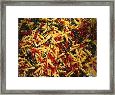 Pattern Of Tri-colored Pasta Framed Print