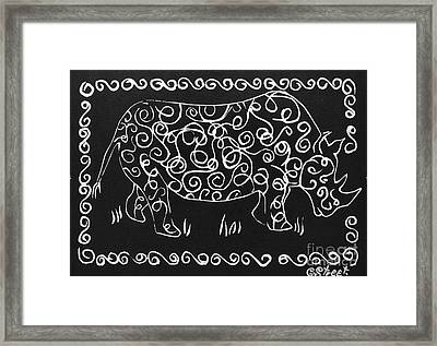 Patterned Rhino Framed Print by Caroline Street