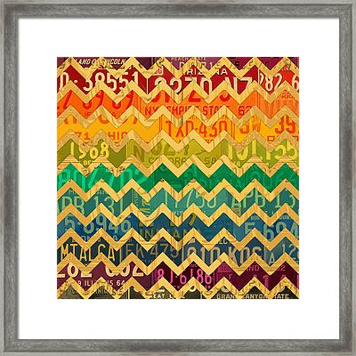 Patterns In The Road - Abstract Recycled Vintage License Plate Art Framed Print