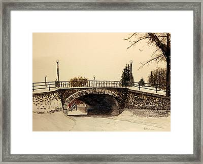 Patterson Creek Bridge In Winter Framed Print