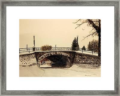Patterson Creek Bridge In Winter Framed Print by Betty-Anne McDonald