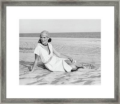 Patti Hansen Wearing A Shirtdress On A Beach Framed Print by Francesco Scavullo