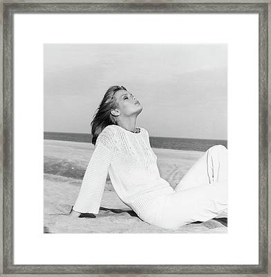Patti Hansen Wearing A Sweater And Matching Pants Framed Print by Francesco Scavullo