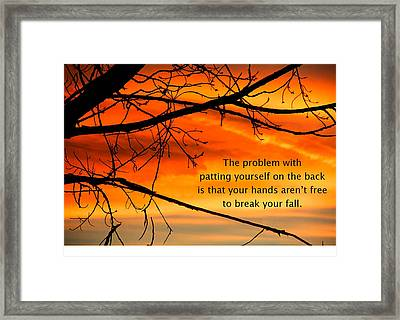 Patting Yourself On The Back Framed Print by Mike Flynn