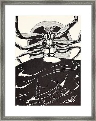 Pau Amma The Crab Rising Out Of The Sea As Tall As The Smoke Of Three Volcanoes Framed Print