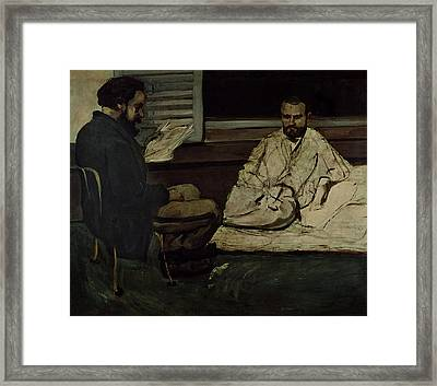 Paul Alexis 1847-1901 Reading A Manuscript To Emile Zola 1840-1902 1869-70 Oil On Canvas Framed Print by Paul Cezanne